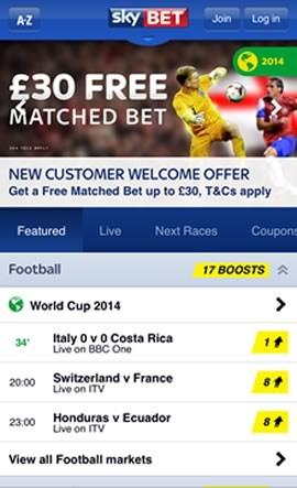 SkyBet Mobile Bookmaker